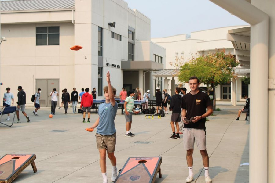 Students can play cornhole during lunch now that the game and many others are set up around the quad.