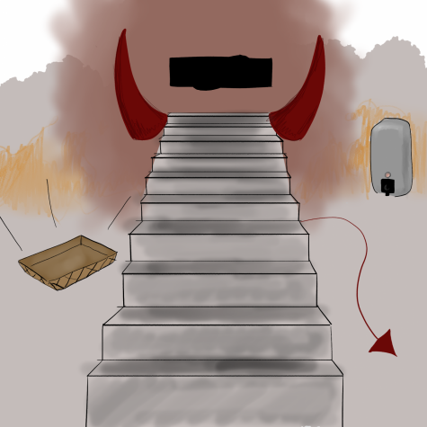 The demon stairs of the main building sadly did not disappear during quarantine.